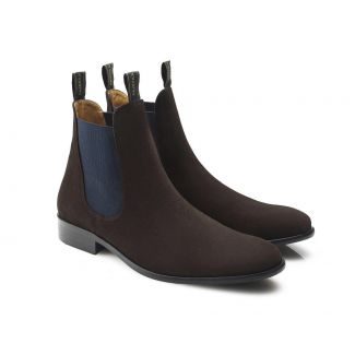 Fairfax & Favor Mens Suede Chelsea Boots Chocolate