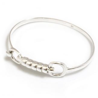 Hiho Silver Sterling Silver Cherry Roller Snaffle Bangle