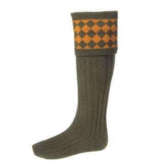 House of Cheviot Mens Chessboard Bracken/Ochre Socks