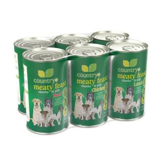 Country UF Meaty Feast Chunks in Jelly Dog Food Pack 6 x 1200g - Chelford Farm Supplies
