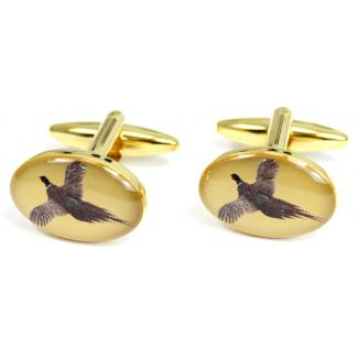Sax Mens Flying Pheasant Cufflinks Gold