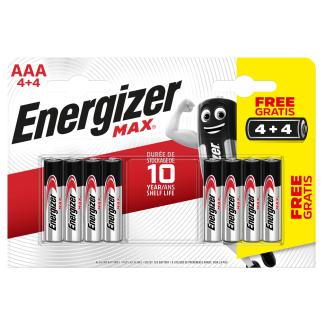Energizer AAA Max Alkaline Batteries Pack of 4 + 4