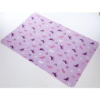 Platinum Fairisle Fleece Blanket Horse Print Pink