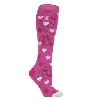 Heat Holders Ladies Long Lite Socks Pink Hearts - Chelford Farm Supplies