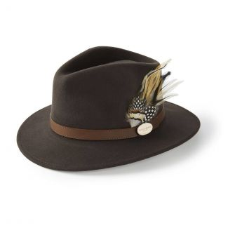 Hicks & Brown Ladies Suffolk Fedora Hat Dark Brown Guinea & Pheasant Feather - Chelford Farm Supplies
