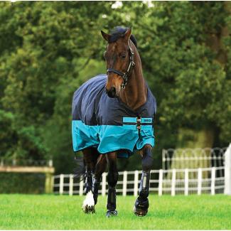 Horseware Mio Lite 0G Lightweight Turnout Rug Black/Turquoise