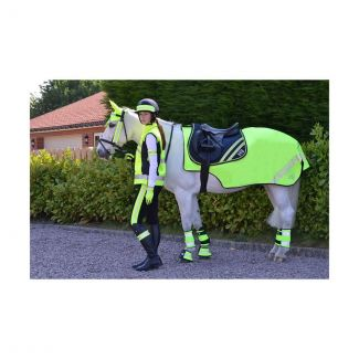 Hy Equestrian HyVIZ Reflector Mesh Exercise Sheet Yellow - Chelford Farm Supplies
