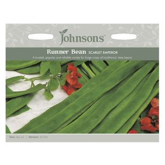 Johnsons Runner Bean Scarlet Emperor Seeds