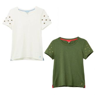 Joules Ladies Carley Classic Crew T-Shirt With Embroidery