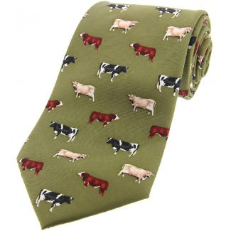Sax Mens Soprano Cow Breeds Country Silk Tie Green