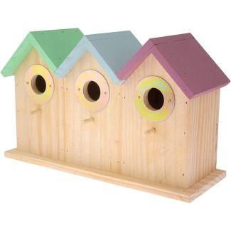 Red Barn Multi Coloured Triple Bird Nesting Box | Chelford Farm Supplies