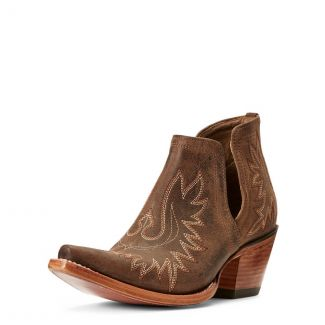 Ariat Ladies Dixon Western Ankle Boot-Weathered Brown