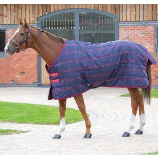 Shires Tempest Plus Medium Stable Rug 200g Navy/Red Check