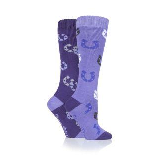 Storm Bloc Ladies Socks Purple Horseshoe 2 Pack - Chelford Farm Supplies