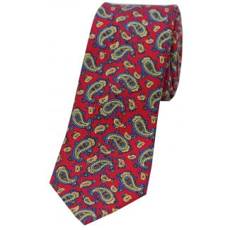 Sax Mens Thin Paisley Tie Red