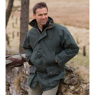 Hoggs of Fife Padded Waxed Jacket Olive