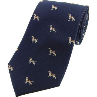 Sax Mens Soprano Pointer Dogs Country Silk Tie Blue
