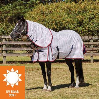WeatherBeeta Summer Sheet Lite III Combo Turnout Rug White/Navy/Red | Chelford Farm Supplies
