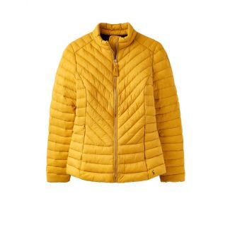 Joules Ladies Elodie Quilted Chevron Jacket Antique Gold